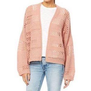 360 Cashmere Blush Open Knit Cashmere Cardigan M